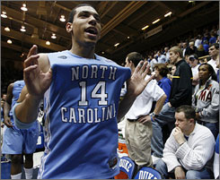 Danny Green shows off his true colors after North Carolina outlasted Duke for a 76-68 victory in Cameron Indoor Stadium in Durham, N.C.