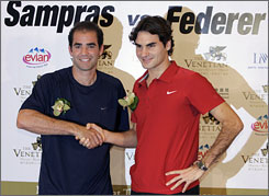Roger Federer, right, has won two of three previous exhibition matches against Pete Sampras.