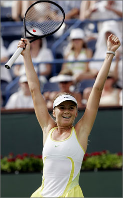 Daniela Hantuchova, shown celebrating her victory over Svetlana Kuznetsova in the final of the Pacific Life Open in 2007, will try to win the tournament for a third time.