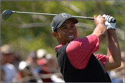 During last year's Arnold Palmer Invitational, Tiger Woods, shown watching his shot during the final round at Bay Hill, went bogey, double bogey and triple bogey, finishing with a back-nine 43.