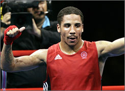 Gold medalist Andre Ward, shown celebrating after his victory over Uzbekistan's Utikirbekt Haydarov in the semifinals of the 2004 Olympic Games in Athens, will fight former super-middleweight title contender Rubin Williams on Thursday at the Shark Tank.