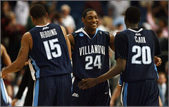 Twelfth-seeded Villanova, with Reggie Redding, Corey Stokes and Shane Clark (left to right) will face No. 13 Siena on Sunday.