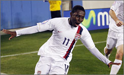 Freddy Adu scored four goals for the U.S. under-23 team last week, earning USA TODAY's award.