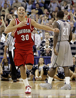 Davidson's Stephen Curry, son of former NBA player Dell Curry, is averaging 35 points a game in the NCAA tournament.