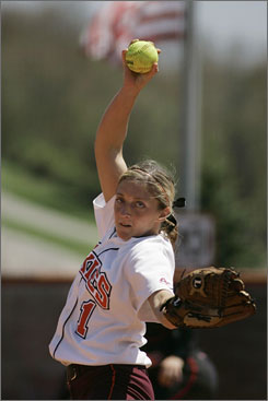 Virginia Tech pitcher Angela Tincher, shown pitching last year, no-hit the USA Olympic softball team in an exhibition game on Wednesday night in Oklahoma City. The Hokies won, 1-0, after scoring a run against Jennie Finch in the second inning.