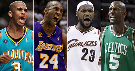 From left: New Orleans' Chris Paul, L.A. Lakers' Kobe Bryant, Cleveland's LeBron James and Boston's Kevin Garnett each make solid cases as NBA Most Valuable Player candidates.