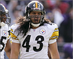 Players with long hair, such as Steelers safety Troy Polamalu, will not be able to let their hair fall onto their uniforms if the Kansas City Chiefs' rule proposal is adopted.