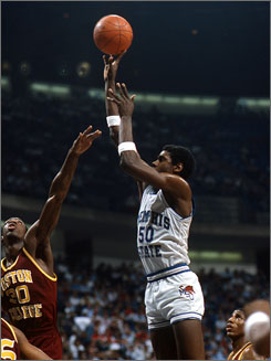 William Bedford, shooting during the Sweet 16 in 1985, played on the 1989 and 1990 Pistons teams that won the NBA championship. Today, the former No. 6 overall pick in the 1986 draft is in prison on a cocaine charge.