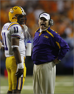 """""""The things that Ryan's doing better in are his academic responsibilities,"""" LSU coach Les Miles said of  Ryan Perrilloux's standing. """"He took a test today that he needed to make up, and really he's making a lot of progress."""""""
