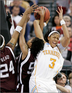Tennessee's Candace Parker, struggling with Texas A&M's Patrice Reado (24) and Danielle Gant during the Oklahoma City Regional final on Tuesday, will wear a shoulder brace in Sunday's national semifinal game against LSU.