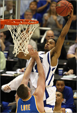 Chris Douglas-Roberts, here dunking on UCLA's Kevin Love in the semifinals, has stepped up his game in the tournament as well. Douglas-Roberts is averaging 23.6 points in the Tigers' last five games and is a very difficult assignment for any defender.