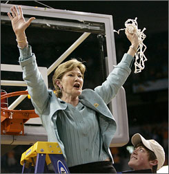 Pat Summitt, cutting down the net after winning another national title while her son Tyler looks on, criticized her squad after a Feb. 14 loss to LSU at home. The Lady Vols responded, capping the season off with the school's eighth national title.