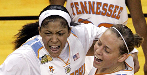 Candace Parker, left, celebrates with teammate Angie Bjorklund after the Lady Vols won the NCAA women's tournament championship game over Stanford 64-48. Parker capped her Lady Vols career with 17 points and nine rebounds en route to Most Outstanding Player of the Final Four honors for the second straight year.