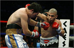 Miguel Cotto, right, punches Alfonso Gomez in the fifth round of their WBA world welterweight title fight on Saturday night in Atlantic City. Cotto won the match by technical knockout.
