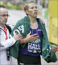 Ryan Hall can finally relax after crossing the finish line at the London Marathon.