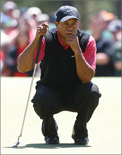 Tiger Woods struggled all week with his putter on the greens of Augusta National.