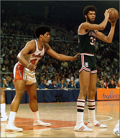 Kareem Abdul-Jabbar, right, was a three-time MVP for the Milwaukee Bucks.