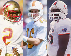 Deion Sanders (Florida State), Peyton Manning (Tennessee) and Warren Sapp (Miami, Fla.), left to right, arrived in the NFL from the three schools that have sent the most players to the pro ranks during the past 20 years.