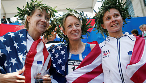 The Americans who qualified for the Olympics in the marathon on Sunday; from left, Blake Russell, Deena Kastor and Magdalena Lewy Boulet.