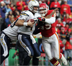 Jared Allen takes down San Diego's Philip Rivers for one of his 15 sacks last year.
