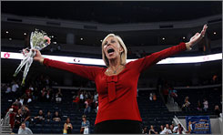 Georgia coach Suzanne Yoculan, shown here moments after winning the Southeastern Conference championship in March, is aiming for a fourth consecutive national title.