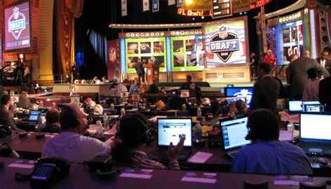 The main stage of the NFL draft at Radio City Music Hall is seen on Saturday before the start of the first round.