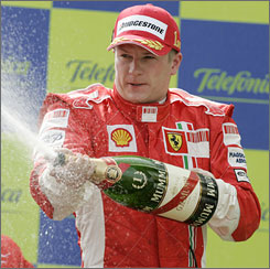 Kimi Raikkonen delivered another champagne shower after winning from the pole in Spain.