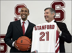 Stanford athletic director Bob Bowlsby introduces former Duke assistant coach Johnny Dawkins as the new men's basketball coach.