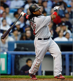 Manny Ramirez is closing in on 500 career homers. Here, he hits one against the Red Sox's arch-rival, the New York Yankees.