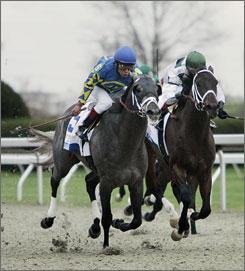 Monba, ridden by Edgar Prado in his Blue Grass victory, and Cowboy Cal, right, are expected to run in the Kentucky Derby for Todd Pletcher.