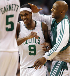 Celtics backup point guard Sam Cassell, right, says the wealth of talent on Boston's roster makes starter Rajon Rondo's job more difficult than people think. After the first four playoff games of his career, Rondo is averaging 12.8 points and 8.3 assists.