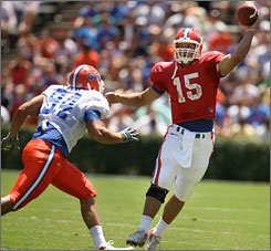Florida quarterback Tim Tebow made it through spring practice healthy and will take aim at a second straight Heisman this fall.