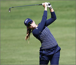 Paula Creamer's even-par 71 on Friday helped her snare the clubhouse lead at the SemGroup Championship.