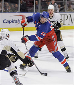 Jaromir Jagr, attempting a shot during the Rangers' Game 4 3-0 shutout of the Penguins on Thursday,  and New York are trying to be just the third NHL squad to come back down 3-0 in a series and win.