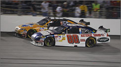 Dale Earnhardt Jr. (88) had a chance to snap his 71-race Cup victory drought at Richmond International Raceway Saturday night before trading paint with Kyle Busch late in the Dan Lowry 400. That incident allowed Clint Bowyer to win the race.