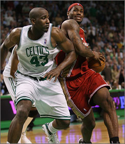Cavaliers forward LeBron James will look for more space against the Celtics defense in Game 2.