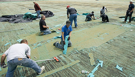 Workers scrape off the old artificial turf from Lions' Stadium at the College of New Jersey in Ewing after concerns were raised about lead contamination.