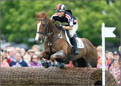 Zara Phillips rides Ardfield Magic Star during the Cross Country Test at the Badminton Horse Trials in England. The granddaughter of Queen Elizabeth will represent Britain at the Bejing Olympics this summer.