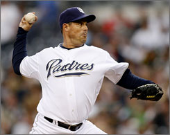 Greg Maddux 's 350th career win was just the Padres' fifth victory in their last 23 games.