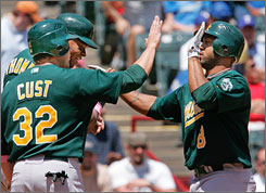 Oakland's Emil Brown, right, is congratulated by teammates Frank Thomas, rear, and Jack Cust after hitting a three-run homer in the A's 12-6 win over Texas on Sunday. Thanks to Brown, Cust and some stellar pitching, the A's have the lead in the American League West.