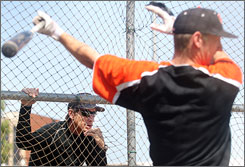 Oregon State coach Pat Casey keeps a close eye on the batting cage during a recent Beavers practice in Corvallis, Ore. Casey's influence on the program has Oregon State building for the long haul.