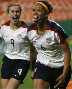 Natasha Kai (6) celebrates the second of three goals she scored against Canada in a friendly this past Saturday. Kai's hat trick fueled a 6-0 victory by the U.S. women. Kai and her teammates will need the same kind of performance to succeed at the pressure-packed Beijing Olympics.