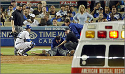 Home plate umpire Kerwin Danley was hit by a 96 mph pitch last month in Los Angeles.