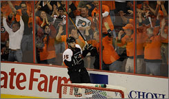 Joffrey Lupul celebrates after scoring into the Penguins' empty net to solidify the Flyers' Game 4 victory at the Wachovia Center.