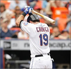 The Mets' Ryan Church displays his frustration after striking out in Thursday's 1-0 loss to the Washington Nationals.