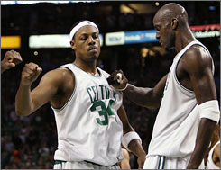 The Celtics' Paul Pierce and Kevin Garnett hope to win another Game 7 in Boston when they host LeBron James and the Cavaliers on Sunday.
