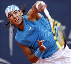 Rafael Nadal took down Roger Federer in three sets to win the Hamburg Masters event in Germany.