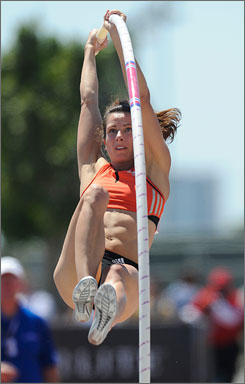 Jenn Stuczynski leaps her way to setting a new American pole vault record of 4.90 meters at the Adidas Track Classic.