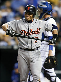 Ivan Rodriguez, after a strikeout last week, has one home run for the Tigers, who have the American League's worst record and have been shut out seven times in their first 44 games.