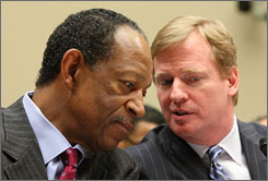 "NFLPA chief Gene Upshaw, left, believes commissioner Roger Goodell and the league's owners will opt out of the collective bargaining agreement. ""It's just a matter of when,"" he said. ""In my mind, the sooner the better."""